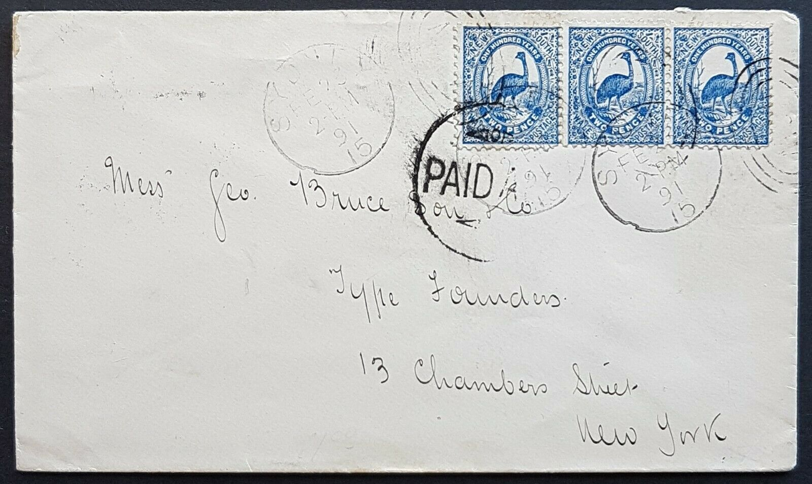 "NSW - USA 2d Emu bird strip of 3 on cover from Sydney Fe 23-1891 ""Paid All"""