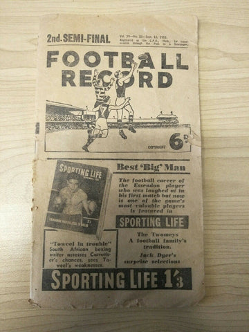 1952 Sept 13th VFL The Football Record 2nd Semi Final Geelong v Collingwood