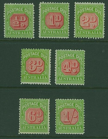 Australia postage dues SG D105/11 Perforated 11 Set of 7 to 1/- MUH