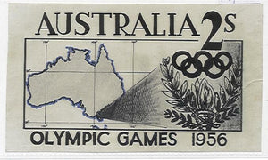 Australia Original artwork for 1956 Melbourne Olympics with letter. Map flower