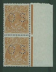 Australia SG O110 KGV 5d orange-brown perforated OS marginal pair. MUH Stamps
