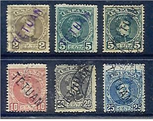Spain SG16-21 2c brown to 25c blue with extra 5c green Fine used