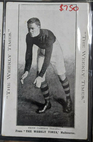 1910 VFL Weekly Times Postcard Essendon Football Club Ernie Cameron
