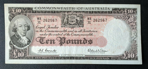 1960 Australia R63 £10 10 Pounds Coombs/Wilson Banknote aUNC WA31