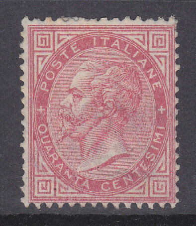 Italy SG 14 1863 40c red Mint no gum