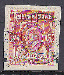 Falkland Islands SG 50 5/- red KEVII used on piece stamp