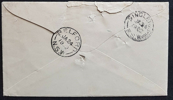 Tasmania 1902 2d Postage Paid, Campbell type 1, Spike hole. Scarce.