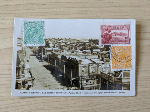 Australia 1931 Postcard Bay Street Brighton With ½d Grn, ½d Or KGV 1½d Canberra