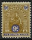 NSW Australian States SG 351a 9d brown + ultra beehive Perf 11 Wmk inverted MLH