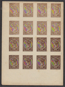 Fiji Pacific Islands 1/- Queen Victoria imperf sheet of 16. Fournier forgery