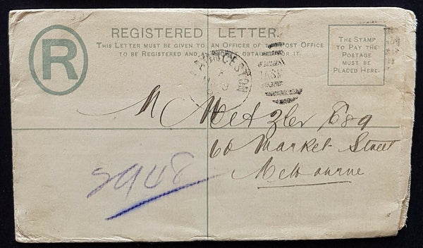 Tasmania - Victoria Australian States 3d registered envelope HG RE3 Launceston
