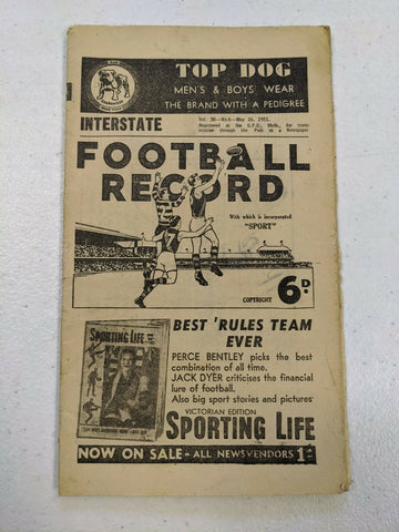 1951 May 26 Interstate Football Record Victoria Vs South Australia