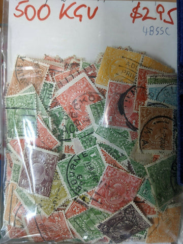 Australia 500 KGV Stamps Including a wide variety of values and postmarks