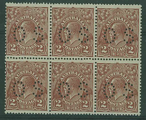 Australia SG O103 2d red-brown KGV perf OS Block of 6 MUH, one is M