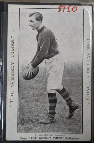 1910 VFL Football Weekly Times Postcard Essendon L Armstrong