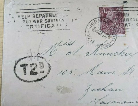 "Australia 1½d KGV Ship mail cover ""Buy War Savings Certificates"" 2d postage due"