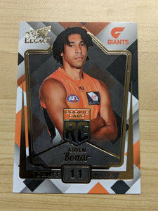 2018 AFL Select Legacy Rookie card AIDEN BONAR GWS Giants RC11 154/250