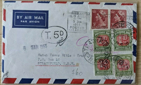 Australia 7d Air Mail Brisbane - Strathfield NSW with 4 Postage Dues added (5d)
