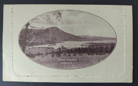 Australia Letter card postal stationery 1d KGV River Derwent Plate Damage error