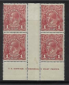 Australia SG 21 1d red KGV One line imprint block 4 Upper plate - no line.