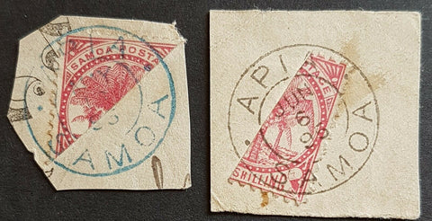 Samoa Germany New Zealand 1/- Palms bisect, both types on piece. Used.