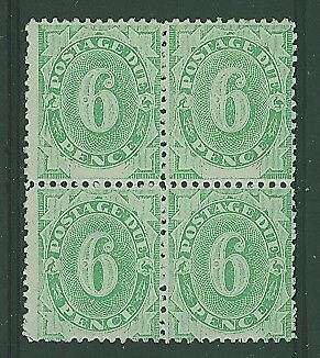 Australia postage dues SG D6 6d Emerald-green, Block of 4 MUH