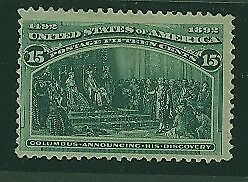 USA Scott# 238 1893 15c dark green Columbus Mint NoGum