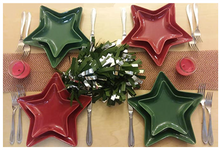 Load image into Gallery viewer, Holiware - Fun Holiday Dinnerware Service Set of 2 Ceramic Green Or Red Star Shaped Dinnerware Service Plates