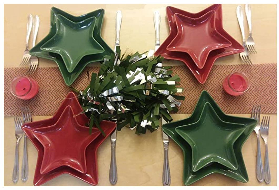 Holiware - Fun Holiday Dinnerware Service Set of 2 Ceramic Green Or Red Star Shaped Dinnerware Service Plates