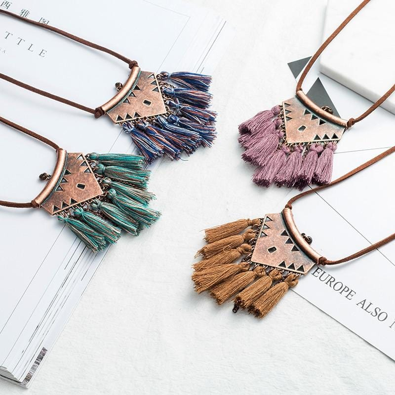 Ethnic Tassel Choker Pendant Necklace