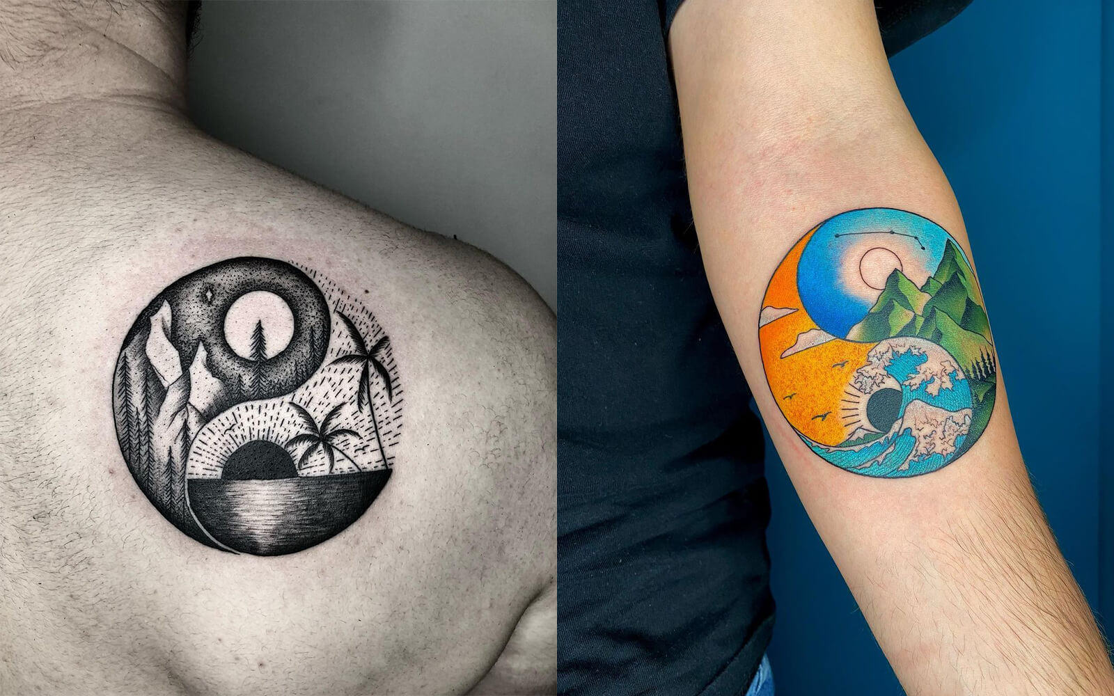 Combined Sun and Moon Tattoo
