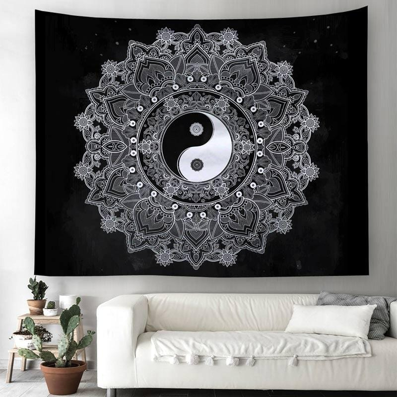 black and white yin yang tapestry