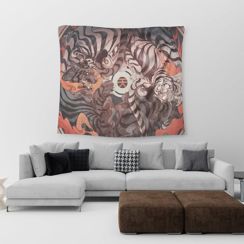 Black and White Tiger Tapestry