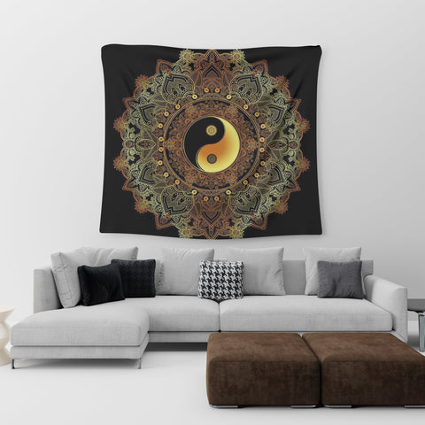 colorful yin yang tapestry