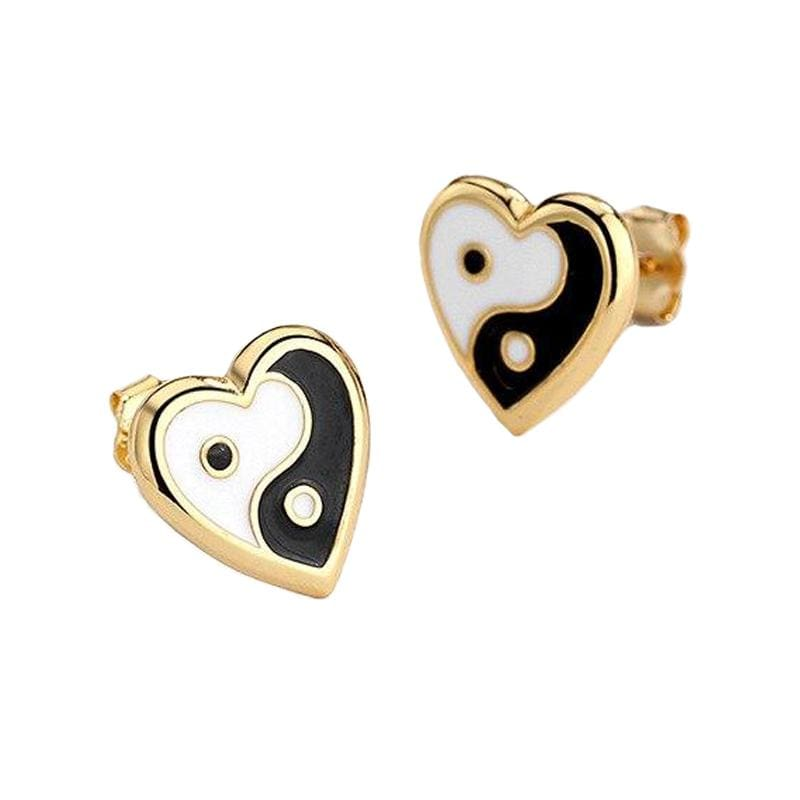 yin yang earrings gold