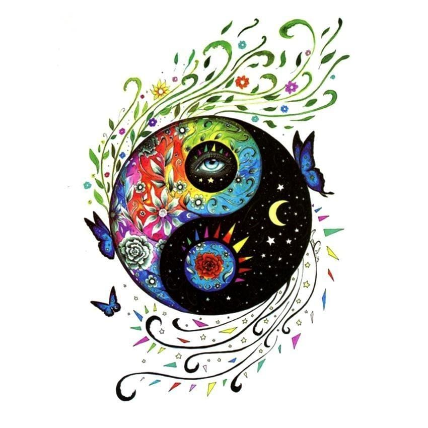 colorful yin yang tattoos