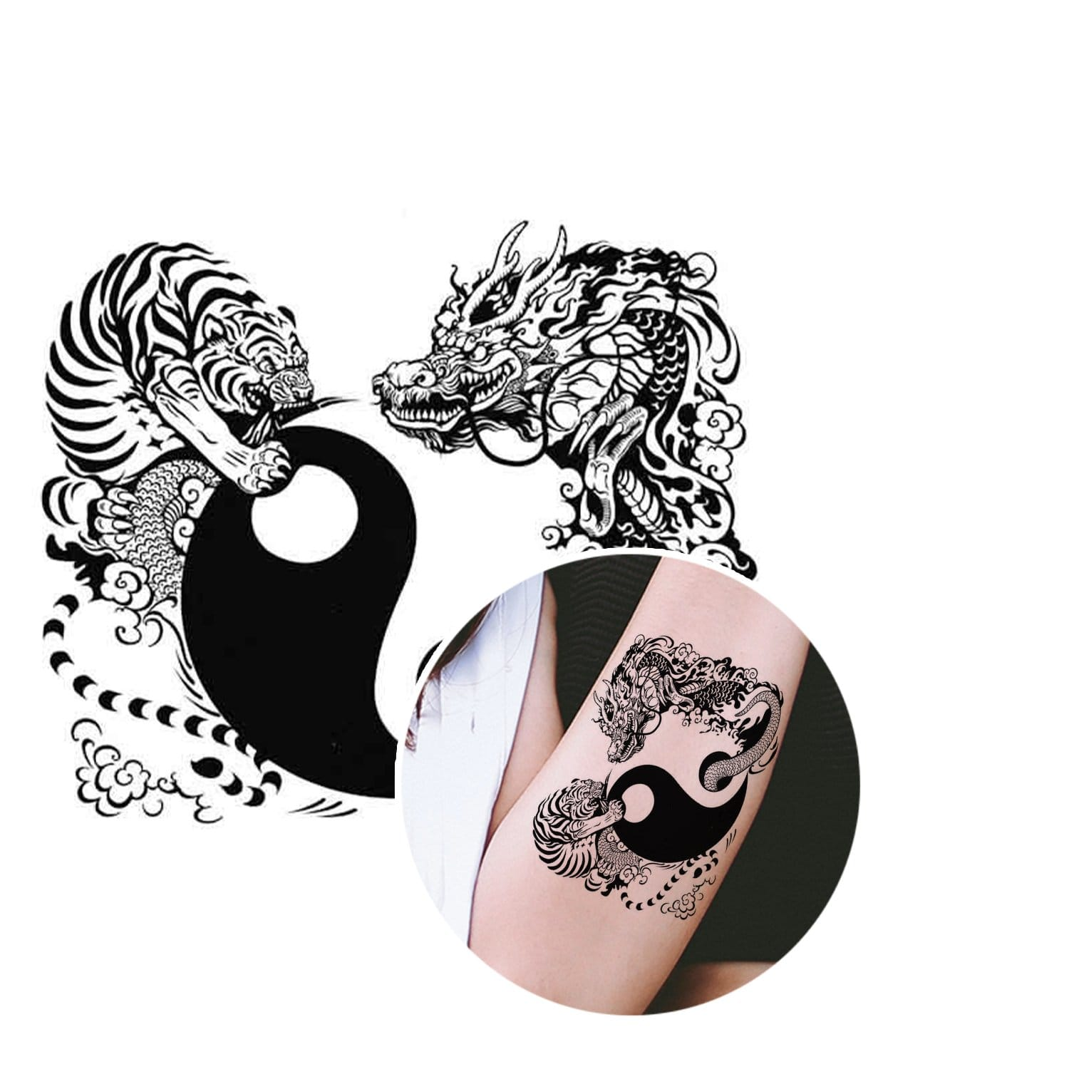 yin yang tiger dragon tattoo