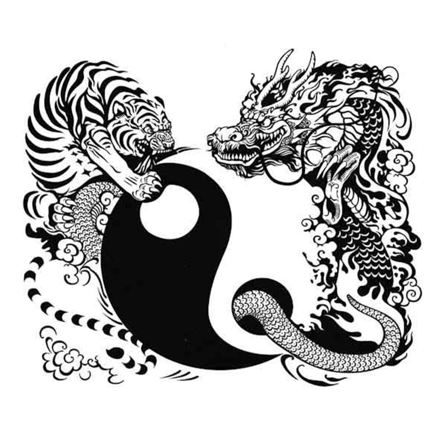 dragon and tiger yin yang tattoo