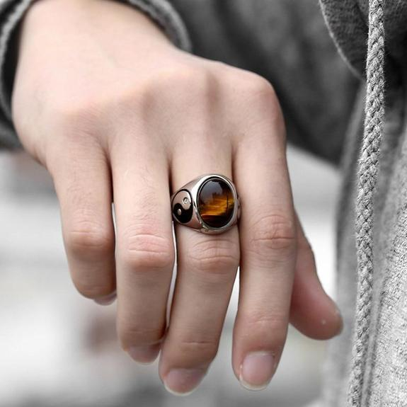 sterling silver tiger eye ring