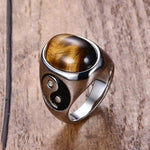 Yin yang tiger eye ring