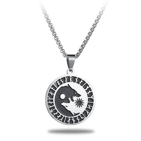 wolf yin yang necklace