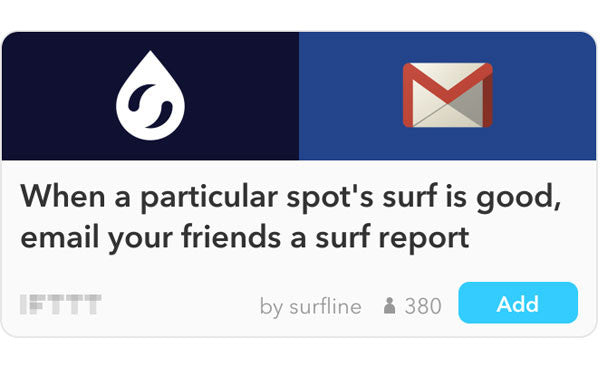 When a particular spot's surf is good, email your friends a surf report