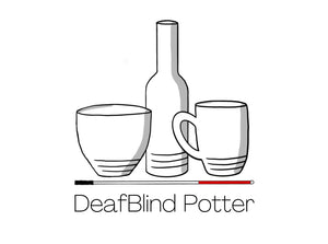 DeafBlind Potter logo. Bowl, bottle, mugs sitting on top of a blind cane.