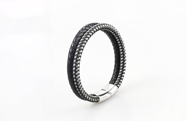 Luxury Men's Bracelet – Double Black & Silver