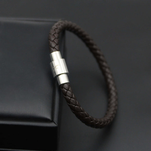 Luxury Mens Bracelet- Single Dark Brown
