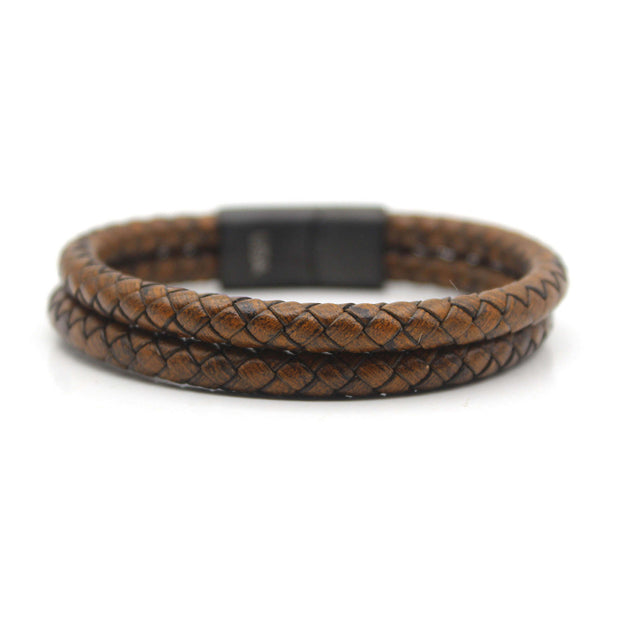 Luxury Men's Bracelet – Double Brown