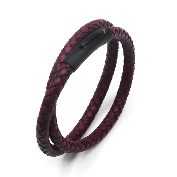 Luxury Men's Bracelet – Double Strand  Maroon (Rose)