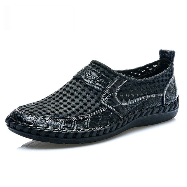 Breathable Mesh Shoes Italy Loafers Mens Casual Shoes Genuine Leather Slip On Brand Shoes Man