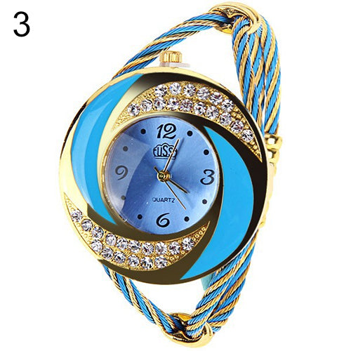 Women Fashion Spiral Round Rhinestone Braid Bangle Cuff Analog Quartz Bracelet Watch