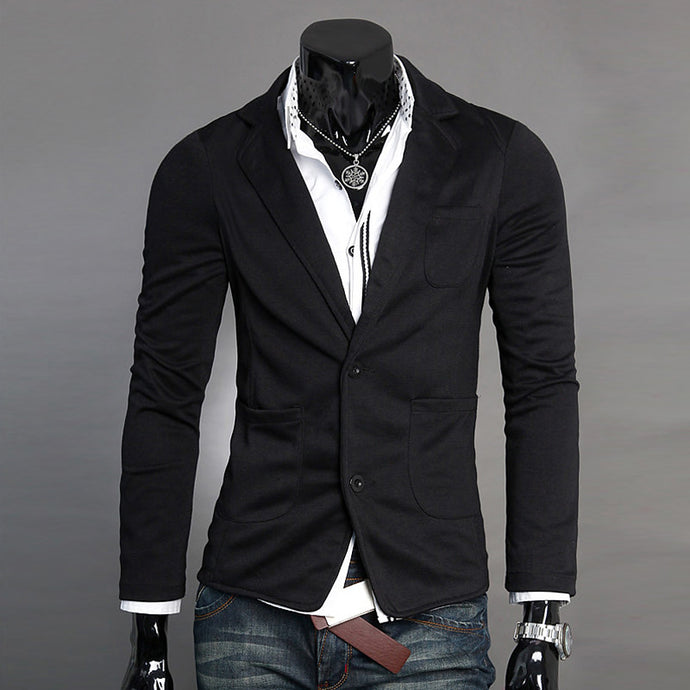 Men's Blazer, Solid Colored V Neck Polyester Black / Dark Gray / Light gray L / XL / XXL